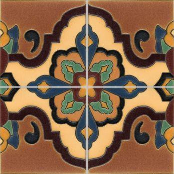 "Loggia deco satin-Burgundy  (4 Tile Repeat)  12x12"" tile pattern"