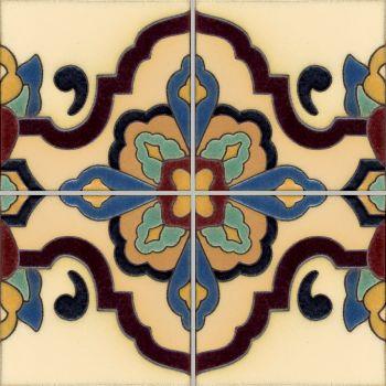"Loggia  deco satin-Cream  (4 Tile Repeat) 12x12"" tile pattern"