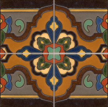 "Loggia  deco satin-Rust  (4 Tile Repeat)  12x12"" tile pattern"