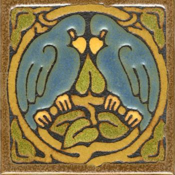 "6x6"" Love Birds Round deco satin-Blue tile"