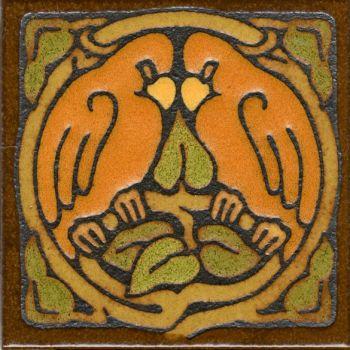 "6x6"" Love Birds Round deco satin-Gold tile"