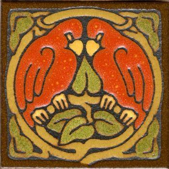 "6x6"" Love Birds Round deco satin-Red tile"