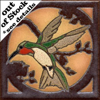 "6x6"" Critter Hummingbird right deco satin-Classic tile"