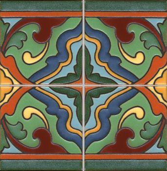 "Presidio deco satin-Burgundy (4 Tile repeat) 12x12"" tile pattern"