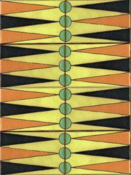 "X Backgammon Set Olive 12x16"" tile"