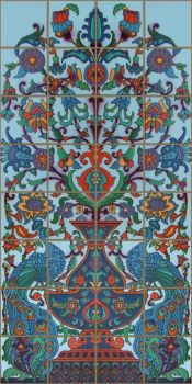 Peacock panel inspired by an historic design from Malibu Pottery (c.1926-1932)