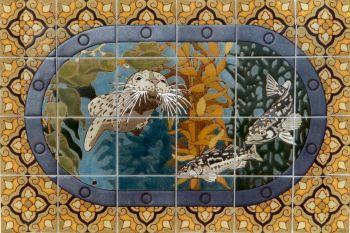 "EP Porthole Oval Seals Mural  24x36"" tile"