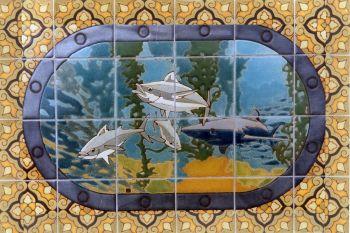 "EP Porthole Oval Shark Mural  24x36"" tile"