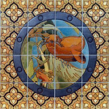 "EP Porthole Round Female Seal Mural  24x24"" tile"