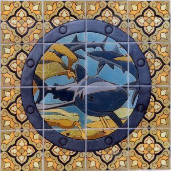 "EP Porthole Round Shark Mural  24x24"" tile"