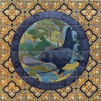 "EP Porthole Round Ray Mural  24x24"" tile"