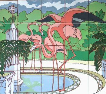 "Art Deco Fountain and Flamingos - gloss - 26x24"""