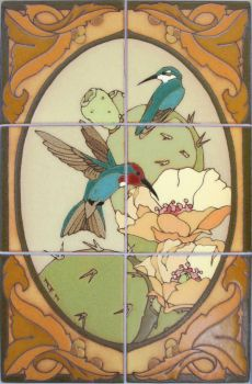 "Hummingbird rust Mural  12x18"" tile"