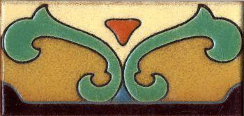 """3x6"""" Saracen Liner deco satin-Burgundy tile pattern"""