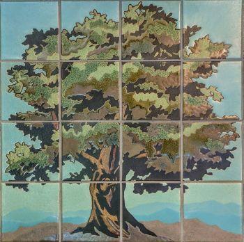 "Oak Tree Mural  24x24"" tile"