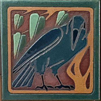 """6x6"""" AC Crow Left deco satin-A&C tile"""