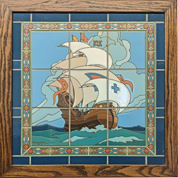 Mounted Galleon with Borders and Oak Frame