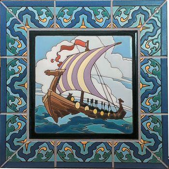 Mounted Viking Ship with Presidio Border