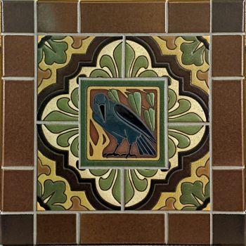 """Crow Cameo with Dorset Deco Panel 17x17"""""""
