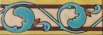 "2x6"" Baker Vine Liner deco satin-Classic tile pattern"