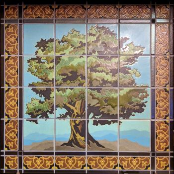 """Oak Mural with Spanish Grill deco border 33x33"""""""