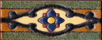 "2.3x6"" Shiraz Liner deco combo-Gold tile pattern"