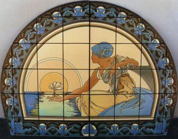an Art Nouveau inspired ceramic tile mural