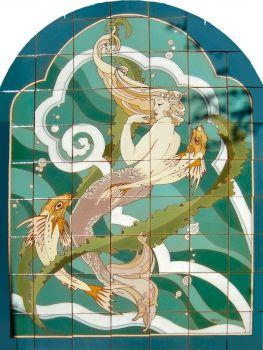 """MCK Mermaid Large Mural 42 x 56"""" tile"""