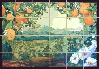Inspired by the early California fruit crate labels.  The large oranges frame th