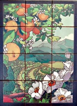 """Orange Grove Little  Mural  18x24"""" tile"""