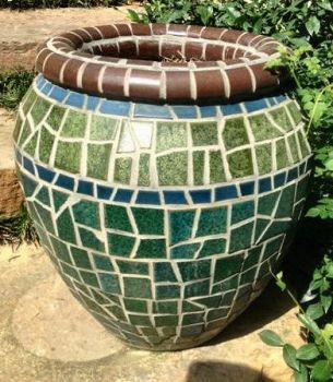 Multi-Green Mosaic Pot