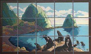 "Seals in Avalon Bay Mural  30x18"""