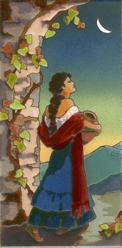 """Senorita by Moonlight Mural  8x16"""" tile"""