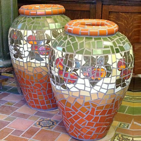 Mosaic Urns with Apple tiles