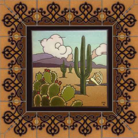 "Desert Mural with Spanish Breeze border 27x27"""