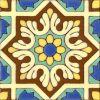 6x6 inch Spanish historic medieval hand glazed cuerda seca decorative tile patte