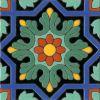 Spanish historic medieval hand glazed cuerda seca decorative tile pattern: Azule